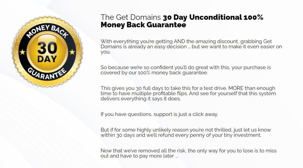 Get Domains Money Back Guarantee